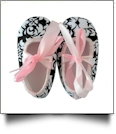 Damask Print Baby Crib Shoes - LIGHT PINK RIBBON - CLOSEOUT