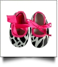Cow Print Baby Crib Shoes - HOT PINK RIBBON - CLOSEOUT