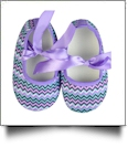 Multi-Chevron Print Baby Crib Shoes - LAVENDER RIBBON - CLOSEOUT