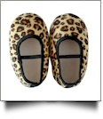 Leopard Print Baby Crib Shoes - BLACK STRAP - CLOSEOUT