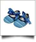 Multi-Chevron Print Baby Crib Shoes - ROYAL BLUE RIBBON - CLOSEOUT