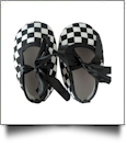 Checker Print Baby Crib Shoes - BLACK RIBBON - CLOSEOUT