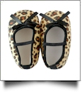 Leopard Print Baby Crib Shoes - MINI BLACK BOW - CLOSEOUT