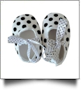 Polka Dot Print Baby Crib Shoes - DOTTY BOW - CLOSEOUT