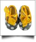 Gray Jumbo Dot Print Baby Crib Shoes - YELLOW BOW - CLOSEOUT