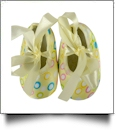 Confetti Dot Print Baby Crib Shoes - YELLOW BOW - CLOSEOUT