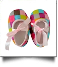 Multi-Color Plaid Print Baby Crib Shoes - LIGHT PINK RIBBON - CLOSEOUT