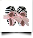 Zebra Print Baby Crib Shoes - LIGHT PINK BOW - CLOSEOUT
