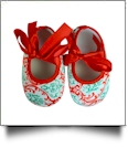Christmas Print Baby Crib Shoes - RED BOW - CLOSEOUT