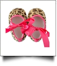 Leopard Print Baby Crib Shoes - HOT PINK BOW - CLOSEOUT