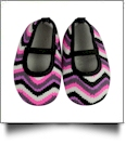 Multi-Color Ikat Chevron Print Baby Crib Shoes - BLACK STRAP - CLOSEOUT