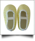 Chevron Print Baby Crib Shoes - YELLOW - CLOSEOUT