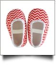 Chevron Print Baby Crib Shoes - RED - CLOSEOUT