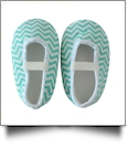 Chevron Print Baby Crib Shoes - AQUA - CLOSEOUT