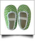 Chevron Print Baby Crib Shoes - GREEN - CLOSEOUT