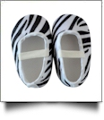 Zebra Print Baby Crib Shoes - WHITE STRAP - CLOSEOUT