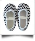 Chevron Print Baby Crib Shoes - BLACK - CLOSEOUT
