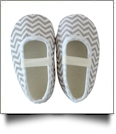 Chevron Print Baby Crib Shoes - GRAY - CLOSEOUT