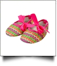 Multi-Color Chevron Print Baby Crib Shoes - HOT PINK BOW - CLOSEOUT