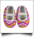 Multi-Color Ikat Chevron Print Baby Crib Shoes - WHITE STRAP - CLOSEOUT