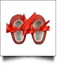 Shiny Sequin Baby Crib Shoes - RED - CLOSEOUT