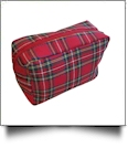 Plaid Cosmetic Bag Embroidery Blanks - RED/GREEN