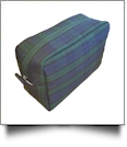 Plaid Cosmetic Bag Embroidery Blanks - NAVY/FOREST GREEN