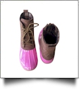 The Coral Palms™ Plaid-Lined Duck Boots - PINK