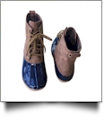 The Coral Palms™ Plaid-Lined Duck Boots - NAVY