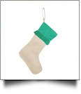 Blank Burlap Christmas Stocking with Ruffle - GREEN CUFF