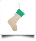 Blank Burlap Christmas Stocking - GREEN CUFF - CLOSEOUT