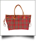 Oversized Plaid Tote with Light Brown Faux Leather Trim & Accents - RED PLAID