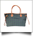 Oversized Plaid Tote with Light Brown Faux Leather Trim & Accents - NAVY/FOREST GREEN PLAID