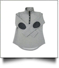 Diamond Quilted Patchy Pullover Tunic - LIGHT GRAY with CHARCOAL - PRE-ORDER