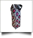 Graphic Print Insulated Wine Bottle Tote w/ Monogrammable Flap - BLACK TRIM