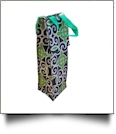 Swirl Print Insulated Wine Bottle Tote w/ Monogrammable Flap - GREEN TRIM