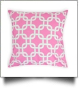 Throw Pillow Cover in Interlocking Shapes Print - PINK - CLOSEOUT