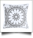 Throw Pillow Cover in Circular Fashion Print - GRAY - CLOSEOUT