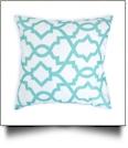 Throw Pillow Cover in Interlocking Geometric Print - AQUA - CLOSEOUT