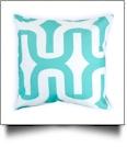 Throw Pillow Cover in Jumbo Geometric Print - AQUA - CLOSEOUT