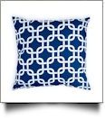 Throw Pillow Cover in Interlocking Shapes Print - NAVY - CLOSEOUT