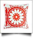 Throw Pillow Cover in Circular Fashion Print - RED - CLOSEOUT