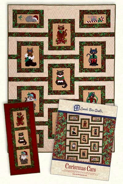 Christmas Cats Embroidery Designs By Lunch Box Quilts