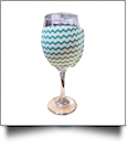 The Coral Palms® EasyStitch Zipper Wrap-Around Wine Glass Coolie - CHEVRON