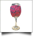 The Coral Palms® EasyStitch Zipper Wrap-Around Wine Glass Coolie - RADIANT ROSES