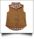 Diamond Quilted Plaid Reversible Vest - CAMEL - CLOSEOUT