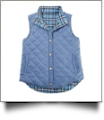 Diamond Quilted Plaid Reversible Vest - ARCTIC BLUE - CLOSEOUT