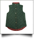 Diamond Quilted Plaid Reversible Vest - DARK GREEN - CLOSEOUT