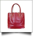 The Coral Palms™ Luxurious Scalloped Faux Leather Purse - CRANBERRY