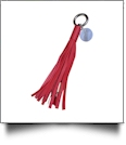 Power Tassel Keychain with Medallion and Hidden Cell Phone Chargers - RED - CLOSEOUT